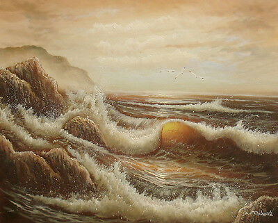 "Oil Painting of Seascape Seagulls Flying over Stormy Sea in Sunset 16x20"" Canvas"