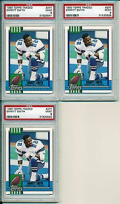 Lot of 3 - 1990 90 Topps Traded #27T Emmitt Smith RC PSA 9 50/50
