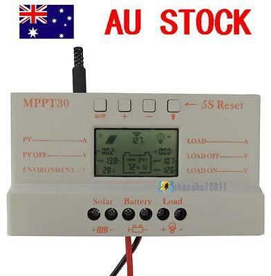 30A MPPT Solar Panel Regulator Charge Controller 12/24V 380/760W With LCD USB SS