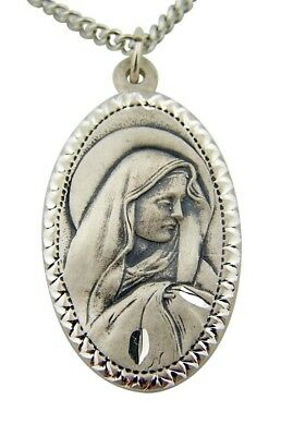 "Fine Jewelry Creed Sterling Silver 1"" Sorrowful Mother Virgin Mary Medal w Chain"