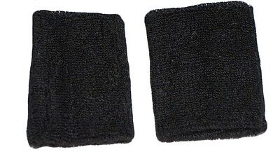 2 Black Two Wrist Sweatbands Athletic Sports Sweatband Wristbands Games Support