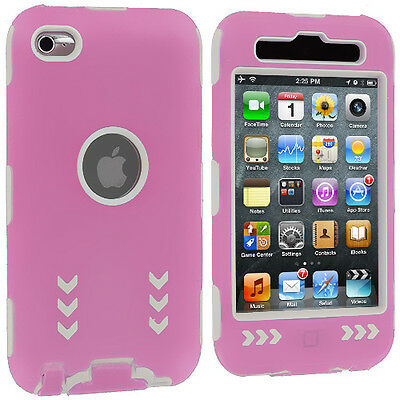 Pink Hybrid Arrows Deluxe Hard Skin 3-Piece Cover Case for iPod Touch 4th Gen