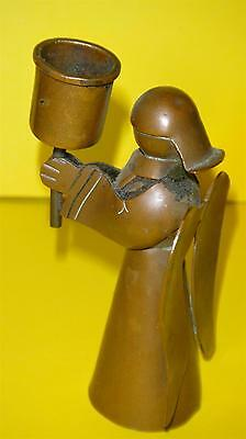 1920' Stunning Art Deco Arts & Crafts Angel Candle Holder Copper Candlestick