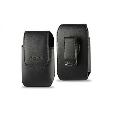 Vertical Clip Faux Black Leather Side Belt Case Pouch Holster by Reiko