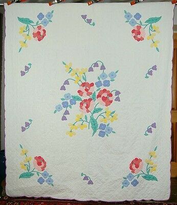 Lg. Vintage 30's Deco Peony Floral Bouquet Applique Antique Quilt ~NICE QUILTING