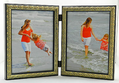 8x10 Brown Silver Double Hinged Horizontal Wood Photo Picture Frame