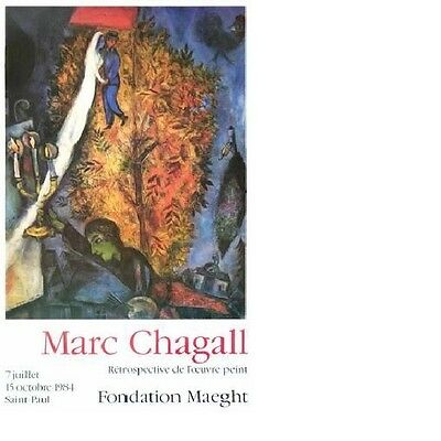 MODERN ART PRINT Birthday by Marc Chagall 28x32 Offset Lithograph MOMA Poster