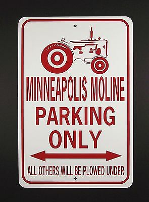 MINNEAPOLIS MOLINE PARKING ONLY  12X18 Aluminum Tractor Sign  Won't rust or fade