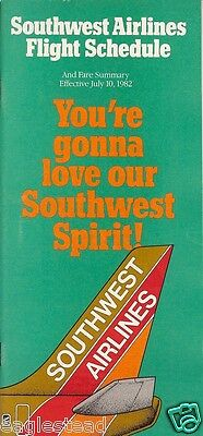 Airline Timetable - Southwest - 10/07/82