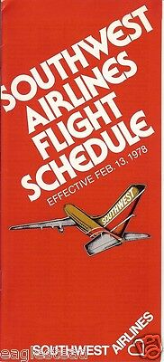 Airline Timetable - Southwest - 13/02/78