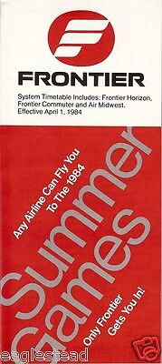Airline Timetable - Frontier - 01/04/84