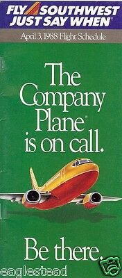 Airline Timetable - Southwest - 03/04/88