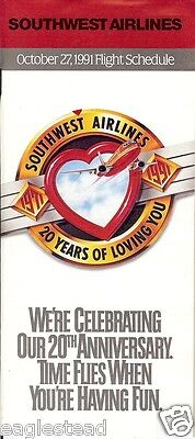 Airline Timetable - Southwest - 27/10/91 - 20th Anniversary