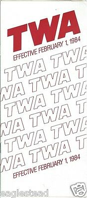 Airline Timetable - TWA - 01/02/84