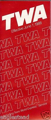 Airline Timetable - TWA - 01/06/88