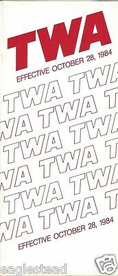 Airline Timetable - TWA - 28/10/84
