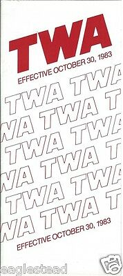 Airline Timetable - TWA - 30/10/83
