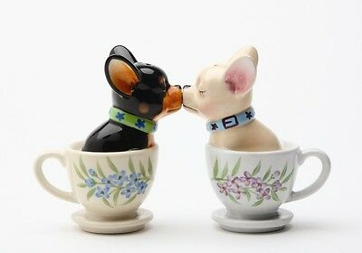 Cute Tea Cup Chihuahua Ceramic Salt & Pepper Shakers Set.they Kiss! So Cute