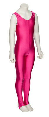 Childrens Girls Shiny Lycra Dance Gymnastics Plain Front Unitard Catsuit KDC011