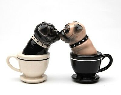 2 Tea Cup Pugs Dog Ceramic Salt & Pepper Shakers Set.They Kiss! Adorable.So Cute