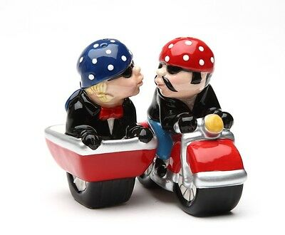 Biker Couple On Motorcycle & Sidecar Ceramic Salt & Pepper Shakers Set.they Kiss