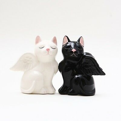 2 Black & White Angel Cats Ceramic Salt & Pepper Shakers.magnetic Attached