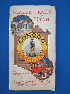 Vintage 1925 Conoco Gasoline Continental Oil Co Blazed Trails in Utah Road Map