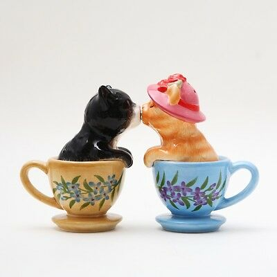 Cute Tea Cup Kittens Ceramic Salt & Pepper Shakers.magnetic Attached!