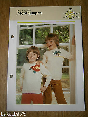 Vintage Knitting Pattern Childs Dc Flower And Palm Tree Motif Sweaters To Knit