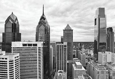 PHILADELPHIA ART PRINT - Philly Skyline by Erin Clark - B/W Photo Poster 13x19