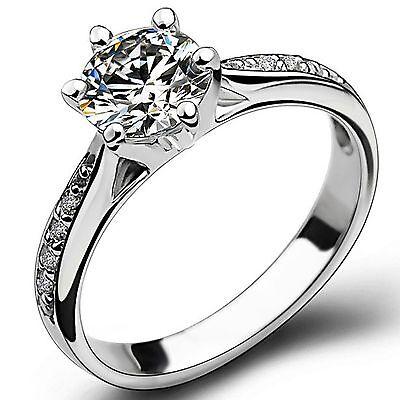 Size 5 6 7 8 9 10 925 Solid Sterling Silver Ring Wedding Engagement Bridal Halo