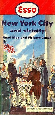 1952 NEW YORK CITY and vicinity road map and visitor's guide *Opuscolo ESSO