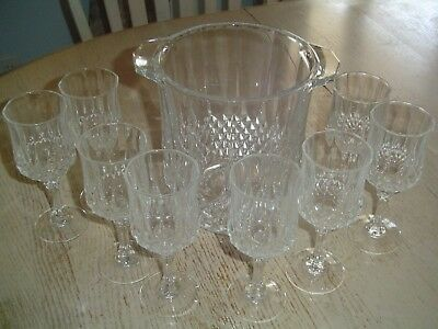 Longchamp by CRIS D'ARQUES/DURAND Crystal Champagne Bucket  + 8 Wine Glasses