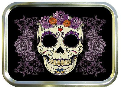 Day Of The Dead Rose  2oz Gold Tobacco Tin, Bait Tin, Sewing Tin, Baccy