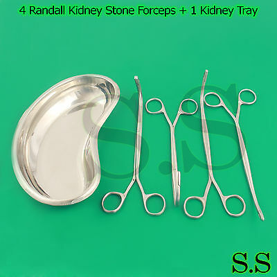 "4 Randall Kidney Stone Forceps + 1 Kidney Tray 10"" Surgical & Veterinary"