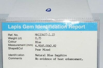 $800 .75Ct Natural Lapis Gem Certified No Heat Blue Sapphire Loose Gemstone