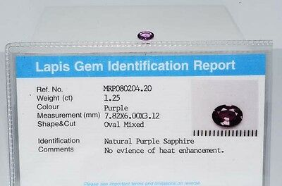 $1,900 1.25Ct Natural Lapis Gem Certified No Heat Purple Sapphire Loose Gemstone