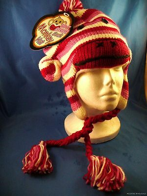 WHOLESALE LOT OF 6 PINK STRIPE SOCK MONKEY HATS winter ladies woman girls OSFA