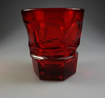 """FOSTORIA ARGUS RUBY - RED CRYSTAL OLD FASHIONED GLASS  3 7/8""""  GLASSES - tumbler"""