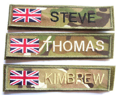 MTP RWB UNION JACK MILITARY NAME TAPE or ZAP BADGE DETAILS  TRF ARMY SAS  UK