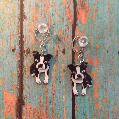 Boston Terrier Dog 3D Earrings Handcrafted Plastic Made in USA