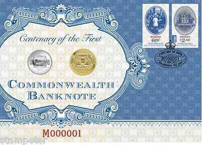 2013 100th Anniversary of Australia's First Banknote PNC with unc $1 and 20c