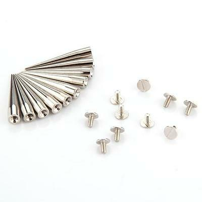 10 Set Silver Screwback Bullet Rivets Spikes Studs Spots for Shoes Craft