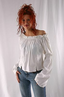 Casual Caribbean Pirate Renaissance Wench Medieval Costume Girl White Blouse Top