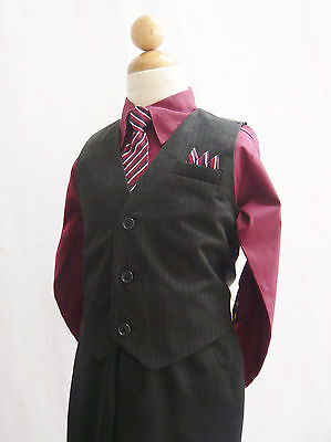 Black Burgundy Wine Toddler Boys Set Vest With Long Tie Tuxedo Formal Suit Set