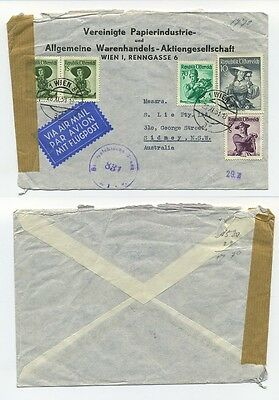 T5155 / AUSTRIA / CENSORED AIR MAIL COVER 1951 TO AUSTRALIA W. 10S, SCARCE