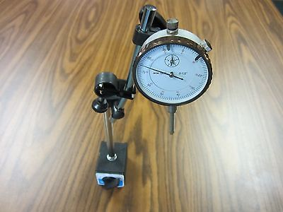 "0-1"" Dial Indicator & Magnetic Base w. Fine adjustment #301-451,#901-755- NEW"