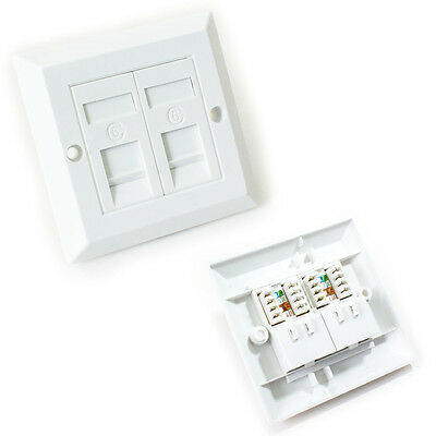 Double Twin Port Cat6 Idc Wall Outlet - Rj45 2 Way Face Plate Network Lan Socket