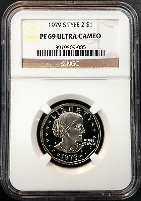1979 S Type 2 Proof Susan B. Anthony Dollar! Graded PF 69 Ultra Cameo by NGC!