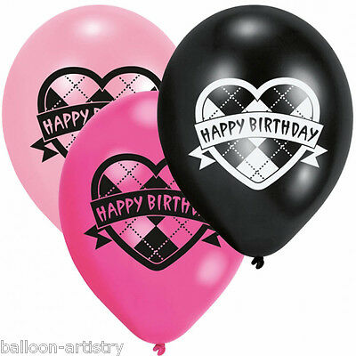 6 Monster High Party Heart Happy Birthday Pink Black Printed Latex Balloons